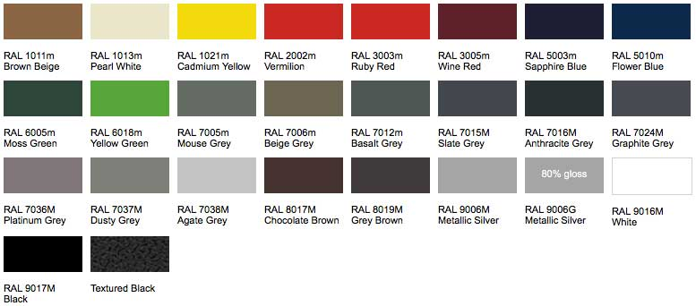 Aluminium Colour Chart